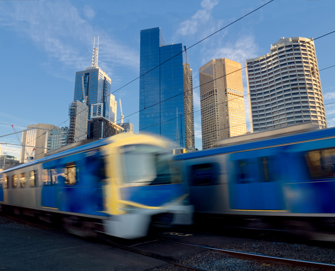 fast trains traveling to and from Melbourne in Australia